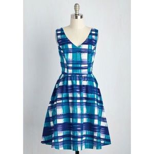 ModCloth Blue Plaid Fit and Flare Dress Size Small